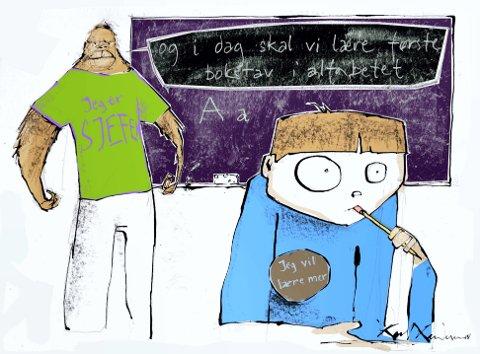 DET HANDLER OM Å BLI VURDERT: «Den norske skolen har utallige kompetansemål som pisker elevene fra en vurderingssituasjon til en annen før de har rukket å fordøye kunnskapene», skriver artikkelforfatteren. (Arkivtegning: Karl Gundersen)