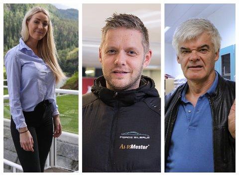 NABOAR: Caroline Helle, Geir Thomas Espe og Rune Larsen er blant naboane som har sendt inn ein merknad til kommunen om eit planlagt nabohus.