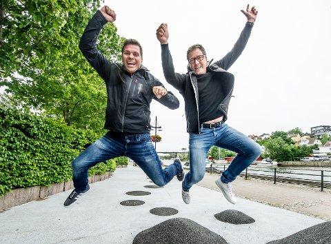 Eventarrangører: Dani Larsen (til venstre) og Thomas Mathiesen i GruppeSpesialisten gleder seg stort over omsetningsrekord og økt overskudd.