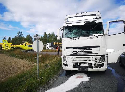 Lastebilen som var involvert i ulykken på E18