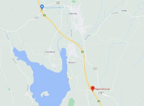 E6 stenges mellom Ingedalskrysset (rødt punkt) og frem til avkjøringen til Solbergtårnet (blått punkt). Omkjøringsvei vil bli skiltet via fylkesvei 118.
