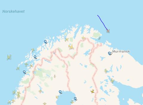 RADAR: Det ukjente flyet dukket opp på radaren svevende  over Barentshavet i internasjonalt luftrom.