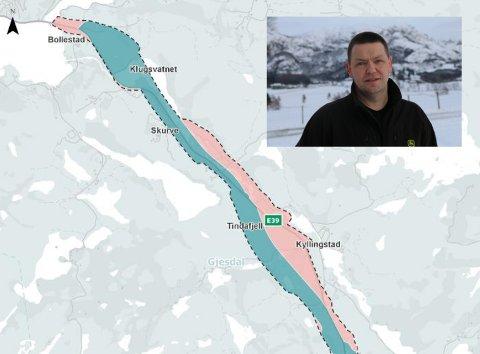 REGULERING: Bildet viser første del av korridoren mellom Ålgård og Bue i kommunedelplanen (blått) og utvidet planområde i reguleringsplanen (rødt). Tarjei Gjesdal i Gjesdal Bondelag er kritisk. Foto: Nye Veier/Håvard Ovesen (innfelt)