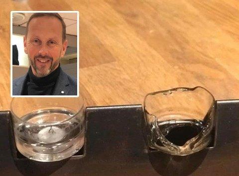 REAGERER: Julian Storsletten (innfeltet) hadde en svært dårlig opplevelse med telysholderne i plastikk fra Nille. Foto:Privat