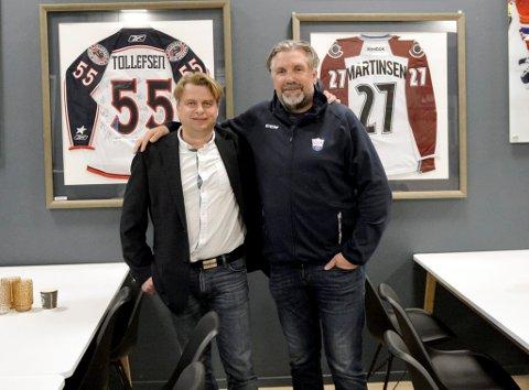 Styreleder Tore Lien Bjørnstad (t.v.) og daglig leder/sportssjef, Atle Svensrud, gjenommførte årsmøte, og informerte om problemene med regnsprogrammet fra Norges Ishockeyforbund i april.