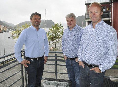 VIL BIDRA: – Vi brenner for Halden og ønsker å være med på bolig- og næringsutviklingen i byen, sier (fra venstre) Jan-Erik Herft og hovedaksjonærene Martin Grimsrud og Bobo Garder i GG-gruppen.