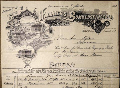 FAKTURA:: Bedriftene konkurrerte om å sende de vakreste regningene på 1800-tallet. Spinneriet skiltet med bilde av fabrikkene i Tistedalen og kontoret i Peder Colbjørnsens gate i byen. Foto: SPINNERIETS ARKIV – HALDEN HISTORISKE SAMLINGER