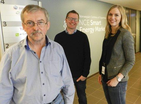 NCE SMART: Koordinator Dieter Hirdes (fra venstre), daglig leder Ole Gabrielsen og kommunikasjonsansvarlig Mette Magnussen i NCE Smart Energy Markets.