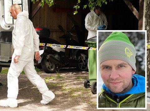 ÅSTEDET: Trebarnsfaren Kristian Løvlie (34) ble drept i denne garasjen. Foto: NTB Scanpix og privat