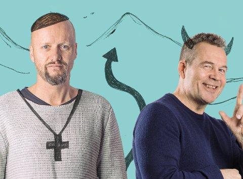 DASS OG DJEVELEN: Hallvard Holmen spiller dikterpresten, mens Ketil Høegh har rollen som djevelen i «Dikterpresten og djevelen».Pressefoto