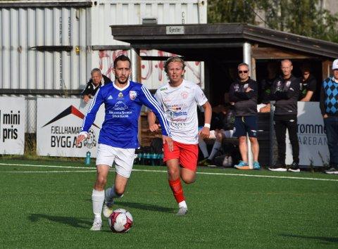 Lars-Eirik Svardahl scoret, sørget for straffe og hadde assist da AHFK tok sin første borteseier for året. Foto: Trym Helbostad