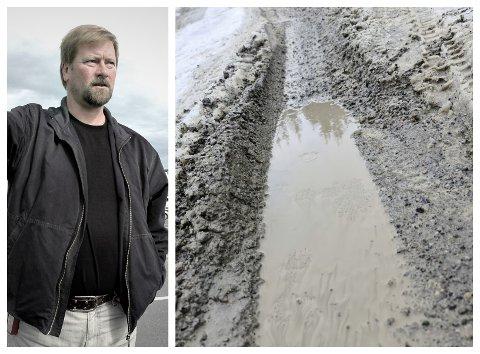 Botnveien har i mange år vært i svært dårlig stand, men Alstahaug kommune brukte i 2020 1,3 millioner kroner på å utbedre veien inn mot Botn. Botnveien som går over Høgåsen og ned mot Sandnes er imidlertid problemet i år. - Vi venter bare på tørre vær, sier ingenilr Trond Bargel.