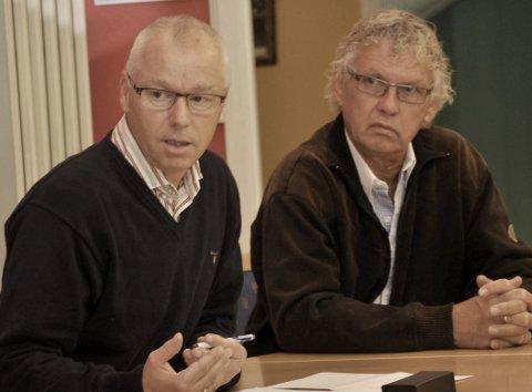 Ikke beroliget: Kragerø gårdeierforening, her ved Bjørn Andersen (t.v.) og Lars Kjendal, er ikke fornøyd med svarene fra ordfører og varaordfører om Valbergbru og utredning av ny vei til Valberg.