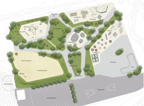 PARK: Livløpsparken på Kalstadbanen og stien rundt Kalstadtjenna er prioritert investering i flertallets budsjett, sammen med kystkultursenteret i Tallakshavn. Illustrasjon: Aktiv Park