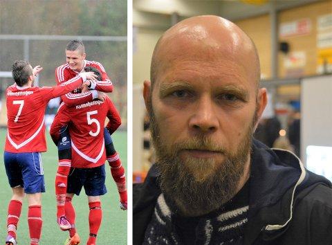 Tore Olderkjær (t.h.) er Trio sine nye a-lagstrenar. Med seg får han Epsen Tufta Saghaug som t.v. blir løfta av ein lagkamerat. Både Olderkjær og Saghaug kjem frå Sunde. (Arkivfoto).