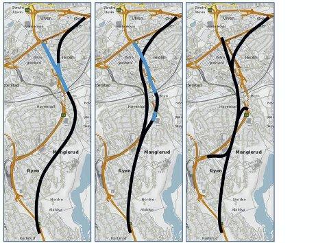 Forslag: De to skissene til venstre er Statens vegvesens forslag til Manglerudtunnelen. Bryn Miljøforums forslag til høyre.