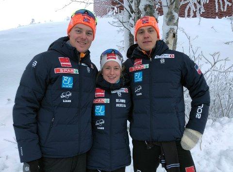 RÅ LAGINNSATS: Torgeir Sulen Hovland (t.v) fikk sitt endelige gjennombrudd med andreplass på sprinten i Skandinavisk cup i Sverige fredag. Anna Svendsen (midten) tok sin første seier i Skandinavisk cup, mens Erik Valnes (t.h) fullførte en mektig Team Nord-Norge-dag med tredjeplass.