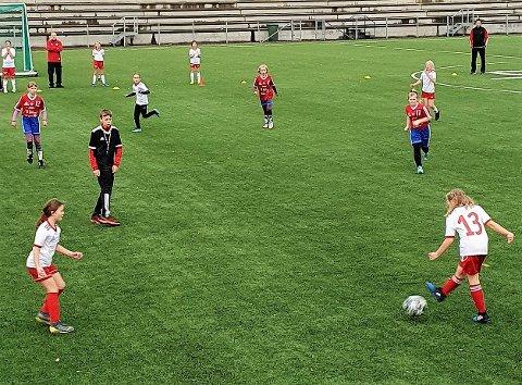 FOTBALLGLEDE: Det ble flust med målsjanser på Brovoll Stadion under denne mini–turneringen for jentene.