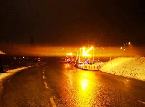 Dette bildet er tatt langs E6 ved Myklagard torsdag kveld.