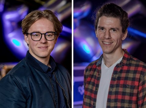 LOKALE DELTAKERE: Daniel Syversen Granum og Kjetil Hallre framfører hver sin låt for mentorene i «The Voice» på TV 2 fredag kveld.