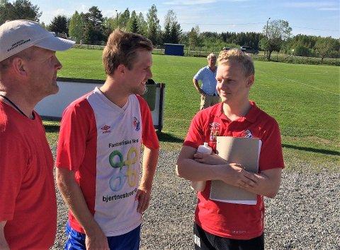 GLEDER SEG: Fu/Vo-trener Ørjan Heiberg (t.h.) og spillende assistenttrener Fredrik Nilsen gleder seg til lokaloppgjøret hjemme mot Raumnes & Årnes lørdag.