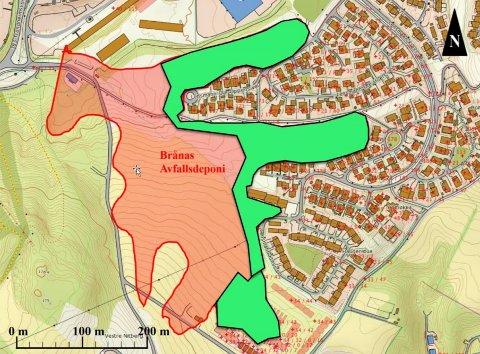 Kart av skisserte oppgravingsgrenser. Helsanering omfatter området markert med rødt og grønt, mens delsanering er markert med grønt.