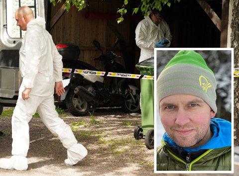 ÅSTEDET: Trebarnsfaren Kristian Løvlie (34) ble drept i denne garasjen.