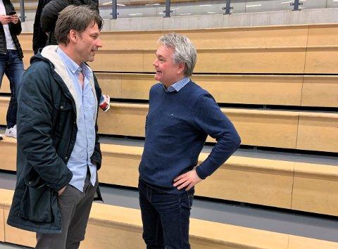 MYE Å SNAKKE OM: Trener Robert Hedin (t.v.) og daglig leder Roger Meyer er oppgitt over forslaget til hvordan håndballsesongen skal avsluttes.