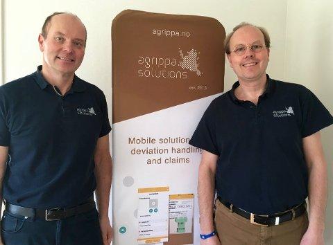 SATSER: Daglig leder Trond Engebretsen og gründer og teknisk direktør Christian Svendsen er strålende fornøyd med utviklingen for Tønsberg-bedriften Agrippa Solutions. Nå tar de steget videre ut i Europa.