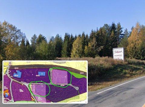 FLERE ALTERNATIVER: Det er foreslått to alternativer til plassering av storkjøkken og vaskeri på Gjestrum industrifelt på Bøverbru.