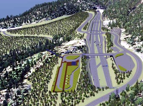 Ved Skaret: Statens vegvesen har planlagt nye E16 slik. Denne illustrasjonen viser slik den er planlagd ved Skaret.