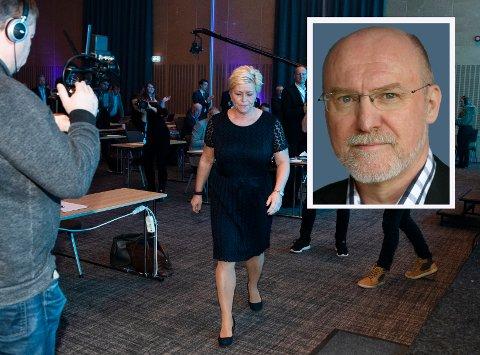 KAN FÅ KONSEKVENSER: Bernt Aardal ved UiO mener at dramaet mellom Oslo Frp og sentralstyret kan få flere konsekvenser for partiet. Her er partileder Siv Jensen fra årets landsmøte på Gardermoen.