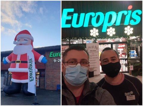 Butikksjef Roar Mikkelsen (t.v) og assisterande butikksjef Kenneth Gullanger. Julenissen utanfor butikken er 7,5 meter høg.