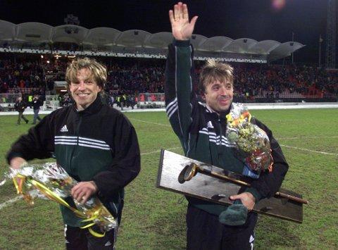 Bodøværingene Jahn Ivar «Mini» Jakobsen og Ørjan Berg har mer Champions League-erfaring enn de fleste. Her etter Mesterligakampen Rosenborg / Real Madrid 0-1. Mini legger opp som toppspiller, og tok avskjed med Lerkendal.