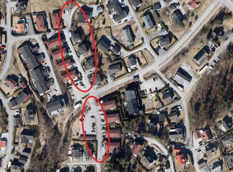 Enebakk kommune vil slutte å vedlikeholde og brøyte den delen av Nygårdsveien på Flateby som ligger innenfor den øverste røde ringen. Området innenfor den nederste ringen vil fortsatt bli vedlikeholdt av kommunen.