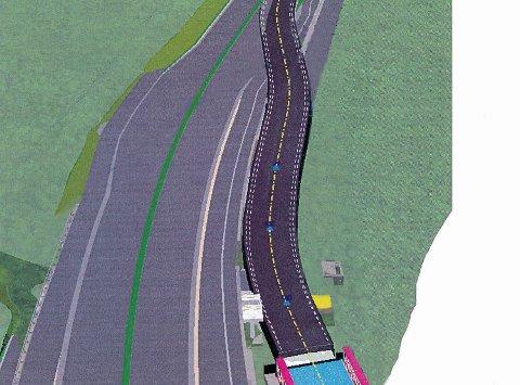FÅR BRUKE LITT AV VEIEN: Statens vegvesen starter nå arbeidene med å lede trafikken opp på deler av den nye firefeltsveien.