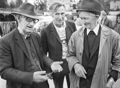 1: Om det var vår- eller høstmarken spilte ingen rolle, klokkehandlerne var der. 79 år gamle Johan Gustavsen fra Kirkenær, til venstre, tilbyr «ei virkelig bra klokke» til Leif Vangen (76) fra Skarnes.               I midten står sønnen til Johan, Gustav Johansen. Bildet ble tatt 7. september 1979. FOTO: JENS HAUGEN 2 Før var Kirketorget markedsplassen. Dette postkortet er i fra omtrent 1907. 3 Markenstravet var populært blant traventusiastene i distriktet. Bildet er tatt i 1986. 4 Tivoliet til venstre, boder og Messehallen i midten og travbanen til høyre. Helikopterfoto fra 11. mai 1982. FOTO:               JENS HAUGEN 5 Markedsplassen fotografert i 1982. Messehallen i bakgrunnen til høyre. FOTO: JENS HAUGEN 6) A/L Messehallen ble stiftet av byens næringsdrivende og hallen sto ferdig i 1961. FOTO: JENS HAUGEN 7) Gardemusikken spilte 8. mai 1982. Nordodølingen Jon Thesen i front. FOTO: JENS HAUGEN