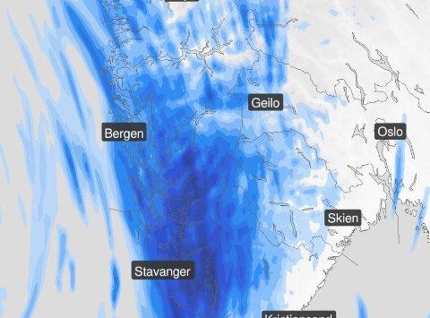 VÅT TORSDAG: Spesielt Rogaland rammes av vått vær torsdag. I helgen får vi litt av alt, før det kan være håp for finvær neste uke.