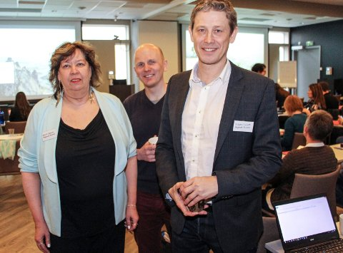 Gunn Johansen, Georg Enga og Torbjørn Tråslett i Helgeland Reiseliv sto bak konferansen torsdag og fredag.