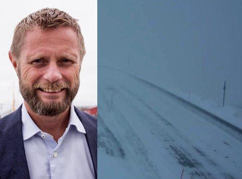 KOM IKKE OVER FJELLET: Helseministeren har hatt møter i Finnmark om problemene med ambulanseflyene. Han fikk selv erfare de krevene., lokale forholdene da han skulle over en fjellovergang. Veier over hele fylket er stengt eller kolonnekjørt onsdag. Arkivbilde fra Kvænangfjellet.