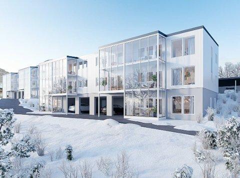 AMBISIØST: Tre blokker med tilsammen 38 leiligheter skal bygges. Byggingen er ventet å ta omtrent to år.