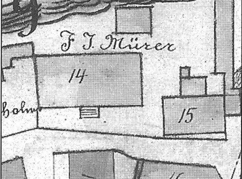 Fra Historieglimt 2002: Utsnitt fra Kragerøs matrikkelkart 1870-årene.