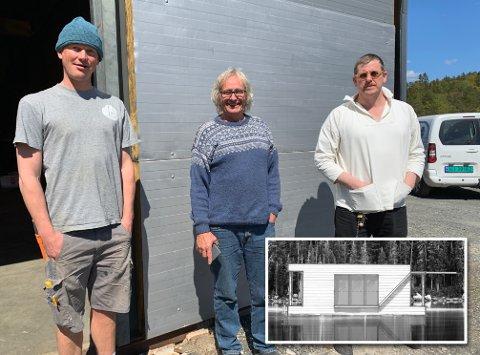 FLYTENDE HYTTER: De tre har utviklet ideen om flytende hytter i Kragerøs indre skjærgård, Toke. Jo Borkhus (til venstre), Dag Michelsen og Daniel T. Jangmar Paulsen.