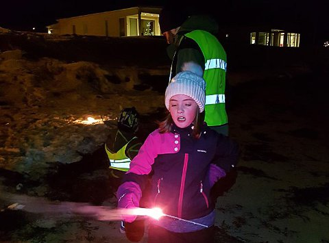 Nyttårsfeiring i Breidablikk på Leknes. Foto: Arve Hunnestad