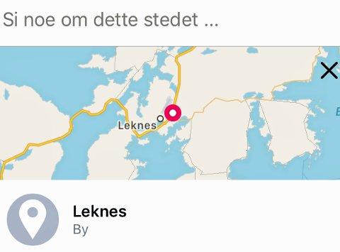 Nå kan du sjekke inn Facebook på Leknes i Nordland.