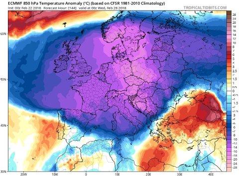 Denne prognosen viser værfenomenet som vil sørge for ekstremt lave temperatuer helt fra Norge til Middelhavet.