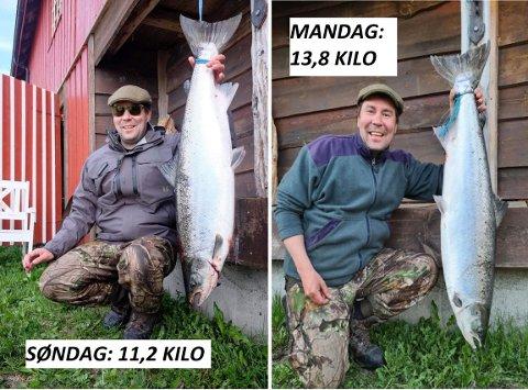 GLAD LAKS: Oddbjørn Skauge fra Asker lovpriser Bjøra etter oppholdet de siste dagene. – En av de fineste elvene jeg har fisket i, sier 45-åringen.