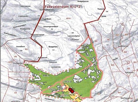 KONSESJONSSAK: Eiendommen det er søkt konsesjon for er markert med 4/2 til høyre i det grønne feltet på kartet, og det er også søkt konsesjon for halvparten av felleseiendommen 4/1-2.