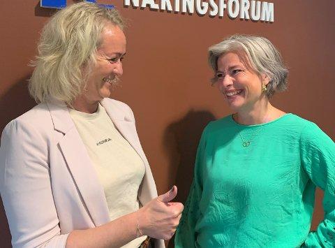 HJEMKOMST: Ingrid Dahl Furunes (til venstre) er glad for å få Kjersti Fikse med på laget i Verdal Næringsforum.