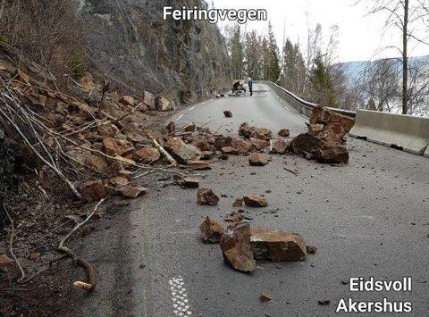 RASSIKRET: Slik så fylkesveg 33 ut da veien var stengt mellom 15. og 17. april i år.